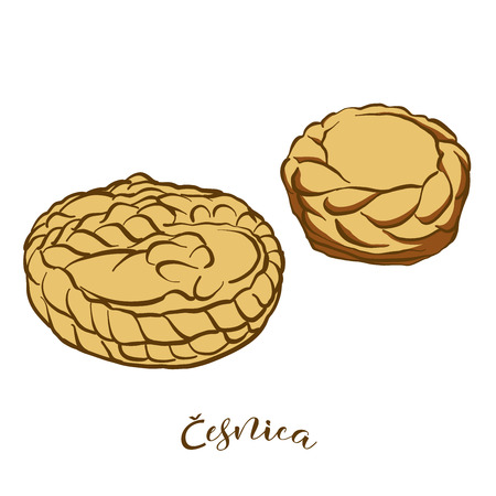 Colored sketches of Cesnica bread. Vector drawing of Soda bread food, usually known in Serbia. Colored Bread illustration series.