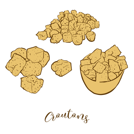 Colored sketches of Croutons bread. Vector drawing of Crispy bread food, usually known in France. Colored Bread illustration series. Ilustração