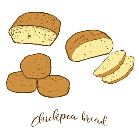 Colored sketches of Chickpea bread bread. Vector drawing of Leavened food, usually known in Albania and Turkey. Colored Bread illustration series.