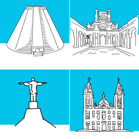 Rio de Janeiro set of buildings. Hand-drawn high quality vector outline drawings.