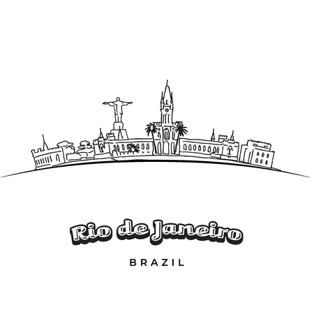 Rio de Janeiro panorama drawing. Hand-drawn high quality vector outline drawing.
