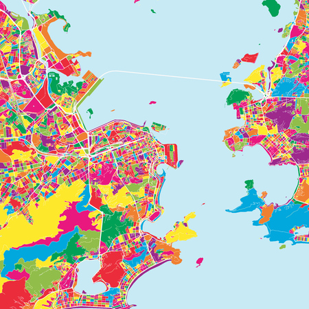 Colorful map of Rio de janeiro. Vector outline version for unlimited print sizes and web banner backgrounds. Ilustração