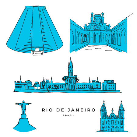 Rio de Janeiro architecture drawings. Hand-drawn high quality vector outline sketches.