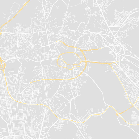 Downtown vector map of Mecca, Saudi Arabia. This printable map of Mecca contains lines and classic colored shapes for land mass, parks, water, major and minor roads as such as major rail tracks. Vetores