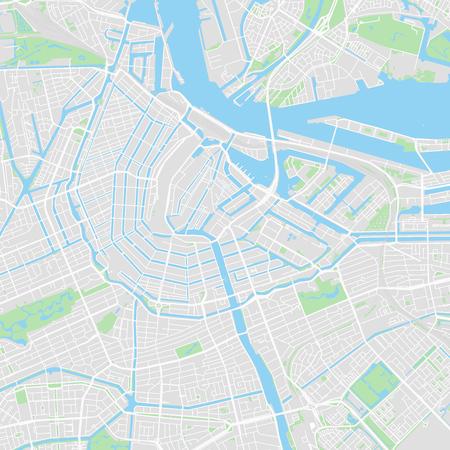 Mapa de vectores del centro de Amsterdam, Países Bajos. Este mapa imprimible de Ámsterdam contiene líneas y formas de colores clásicas para masas de tierra, parques, agua, carreteras principales y secundarias, como las principales vías de tren. Ilustración de vector