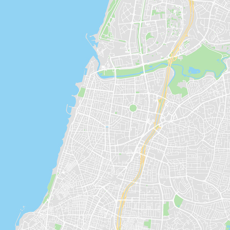 Downtown vector map of Tel Aviv, Israel. This printable map of Tel Aviv contains lines and classic colored shapes for land mass, parks, water, major and minor roads as such as major rail tracks. Illustration