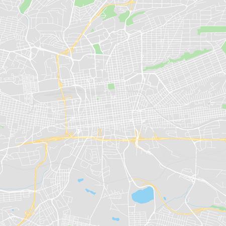 Mapa de vectores en el centro de Johannesburgo, Sudáfrica. Este mapa imprimible de Johannesburgo contiene líneas y formas clásicas de colores para masas de tierra, parques, agua, carreteras principales y secundarias, como las principales vías férreas.