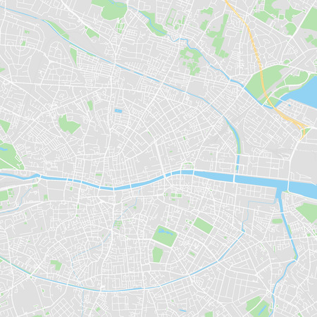 Downtown vector map of Dublin, Ireland. This printable map of Dublin contains lines and classic colored shapes for land mass, parks, water, major and minor roads as such as major rail tracks.