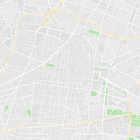 Downtown vector map of Mexico City, Mexico. This printable map of Mexico City contains lines and classic colored shapes for land mass, parks, water, major and minor roads as such as major rail tracks.