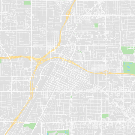 Downtown vector map of Las Vegas, United States. This printable map of Las Vegas contains lines and classic colored shapes for land mass, parks, water, major and minor roads as such as major rail tracks.