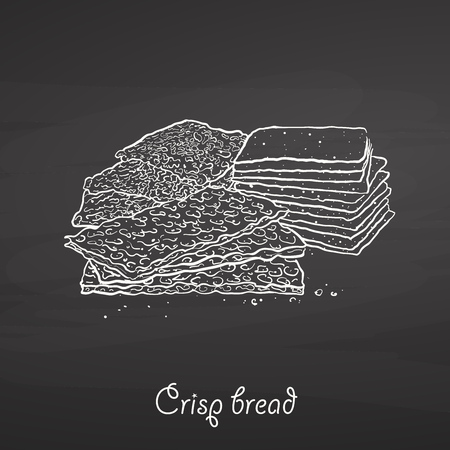 Crisp bread food sketch on chalkboard. Vector drawing of Crispy bread, usually known in Scandinavia. Food illustration series.
