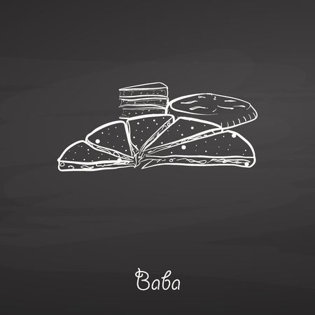 Baba food sketch on chalkboard. Vector drawing of Various thick, round breads, usually known in China, Yunnan, naxi, people. Food illustration series.