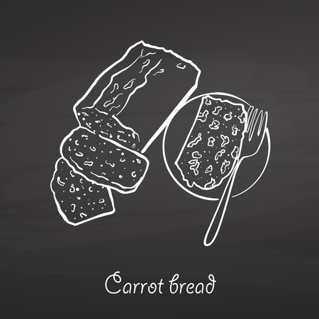 Carrot bread food sketch on chalkboard. Vector drawing of Leavened, usually known in Ireland. Food illustration series.
