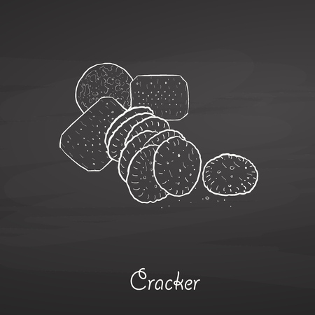 Cracker food sketch on chalkboard. Vector drawing of Crispy bread, usually known in International. Food illustration series.