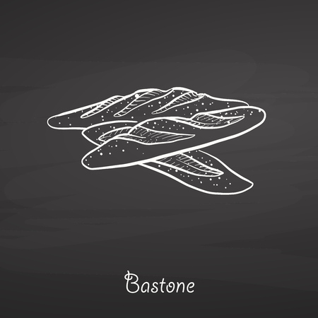 Bastone food sketch on chalkboard. Vector drawing of Yeast bread, usually known in Italy. Food illustration series.