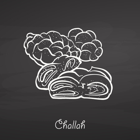 Challah food sketch on chalkboard. Vector drawing of Leavened, usually known in Poland and Israel. Food illustration series.
