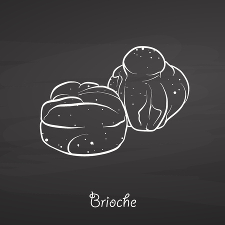 Brioche food sketch on chalkboard. Vector drawing of Yeast bread, Sweet, usually known in France. Food illustration series.