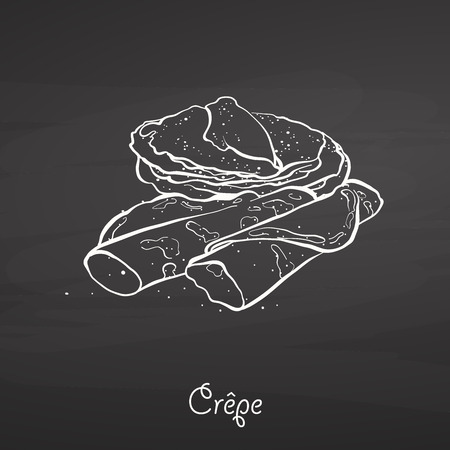 Crêpe food sketch on chalkboard. Vector drawing of Pancake, usually known in France. Food illustration series. Imagens - 124605475