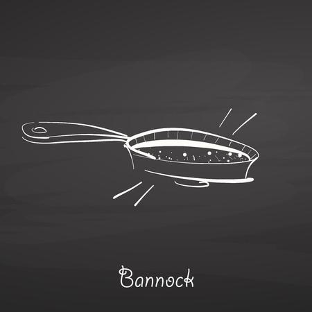 Bannock food sketch on chalkboard. Vector drawing of Flatbread, usually known in United Kingdom, Scotland. Food illustration series. Illustration