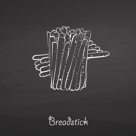 Breadstick food sketch on chalkboard. Vector drawing of Dry bread, usually known in Italy. Food illustration series.