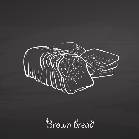 Brown bread food sketch on chalkboard. Vector drawing of Rye or wheat bread, usually known in Ireland. Food illustration series.