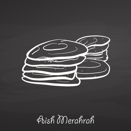 Aish Merahrah food sketch on chalkboard. Vector drawing of Flatbread, usually known in Egypt. Food illustration series.