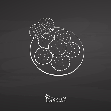 Biscuit food sketch on chalkboard. Vector drawing of Yeast bread, usually known in America, Europe. Food illustration series.