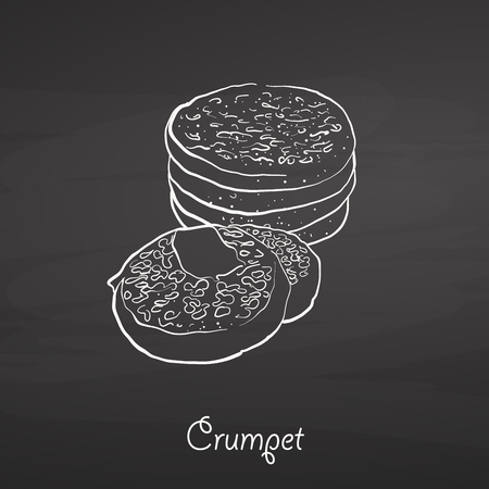 Crumpet food sketch on chalkboard. Vector drawing of Flatbread, usually known in United Kingdom. Food illustration series. Illustration