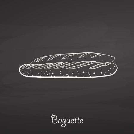 Baguette food sketch on chalkboard. Vector drawing of Yeast bread, usually known in France. Food illustration series.