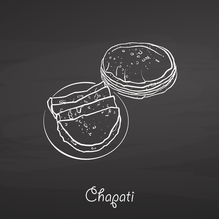 Chapati food sketch on chalkboard. Vector drawing of Flatbread, usually known in South Asia. Food illustration series. Illustration