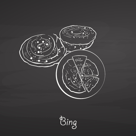 Bing food sketch on chalkboard. Vector drawing of Flatbread, usually known in China. Food illustration series.