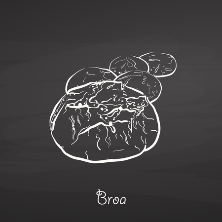Broa food sketch on chalkboard. Vector drawing of Cornbread, usually known in Portugal. Food illustration series.