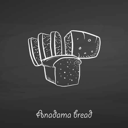 Anadama bread food sketch on chalkboard. Vector drawing of Yeast bread, usually known in United States, New England. Food illustration series.