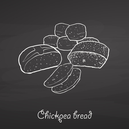 Chickpea bread food sketch on chalkboard. Vector drawing of Leavened, usually known in Albania and Turkey. Food illustration series.