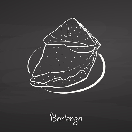 Borlengo food sketch on chalkboard. Vector drawing of Pancake, usually known in Italy. Food illustration series.