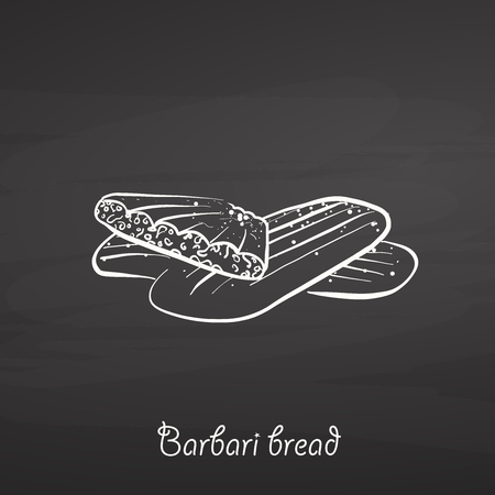 Barbari bread food sketch on chalkboard. Vector drawing of Flatbread, usually known in Iran, 
