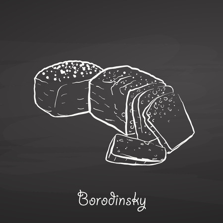 Borodinsky food sketch on chalkboard. Vector drawing of Sourdough, usually known in Russia. Food illustration series. Иллюстрация