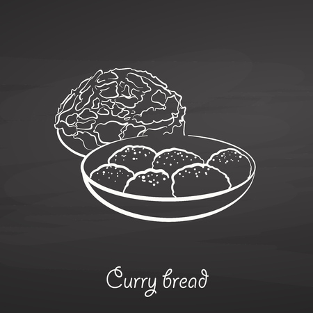 Curry bread food sketch on chalkboard. Vector drawing of Bun, usually known in Japan. Food illustration series.