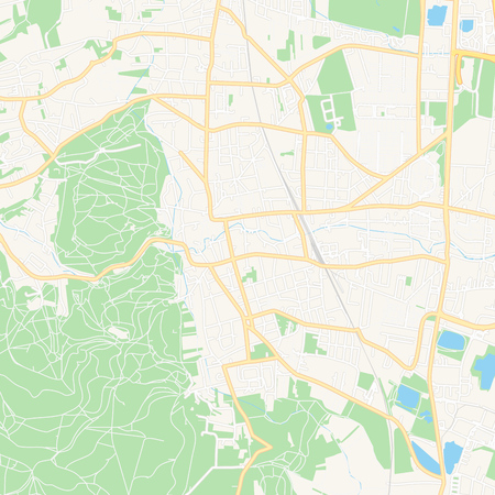 Printable map of Modling, Austria with main and secondary roads and larger railways. This map is carefully designed for routing and placing individual data.