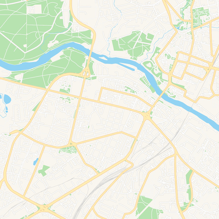 Printable map of Grodno, Belarus with main and secondary roads and larger railways. This map is carefully designed for routing and placing individual data.