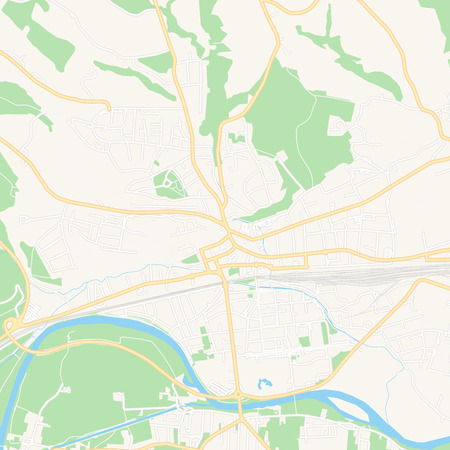 Printable map of Amstetten, Austria with main and secondary roads and larger railways. This map is carefully designed for routing and placing individual data.