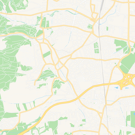 Printable map of Perchtoldsdorf, Austria with main and secondary roads and larger railways. This map is carefully designed for routing and placing individual data.