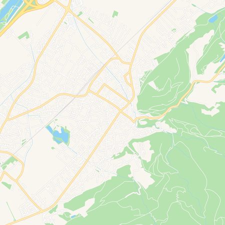 Printable map of Hohenems, Austria with main and secondary roads and larger railways. This map is carefully designed for routing and placing individual data.