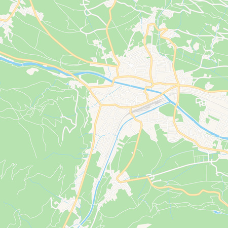Printable map of Lienz, Austria with main and secondary roads and larger railways. This map is carefully designed for routing and placing individual data. Иллюстрация