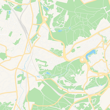 Printable map of Ottignies-Louvain-la-Neuve, Belgium with main and secondary roads and larger railways. This map is carefully designed for routing and placing individual data.