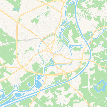 Printable map of Lier , Belgium with main and secondary roads and larger railways. This map is carefully designed for routing and placing individual data.