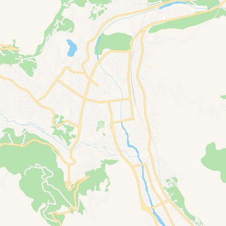 Printable map of Mostar, Bosnia and Herzegovina with main and secondary roads and larger railways. This map is carefully designed for routing and placing individual data. Illustration