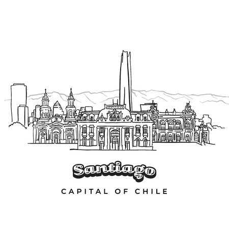 Santiago, Chile hand-drawn skyline. Vector outline sketch