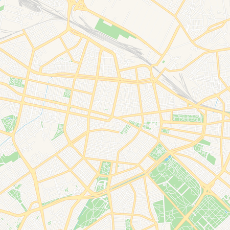 Printable map of Sofia, Bulgaria with main and secondary roads and larger railways. This map is carefully designed for routing and placing individual data.