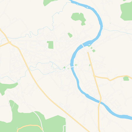 Printable map of Sanski Most, Bosnia and Herzegovina with main and secondary roads and larger railways. This map is carefully designed for routing and placing individual data. 向量圖像